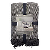 Country Club Como Herringbone Throw 228 x 254cm, Grey