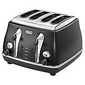 De'Longhi Vintage Icona 4 Slice Toaster - Matt Black