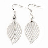 Silver Tone Lightweight Leaf Drop Earrings - 5.5cm Length