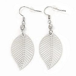 Silver Tone Lightweight Leaf Drop Earrings - 5.5cm Length