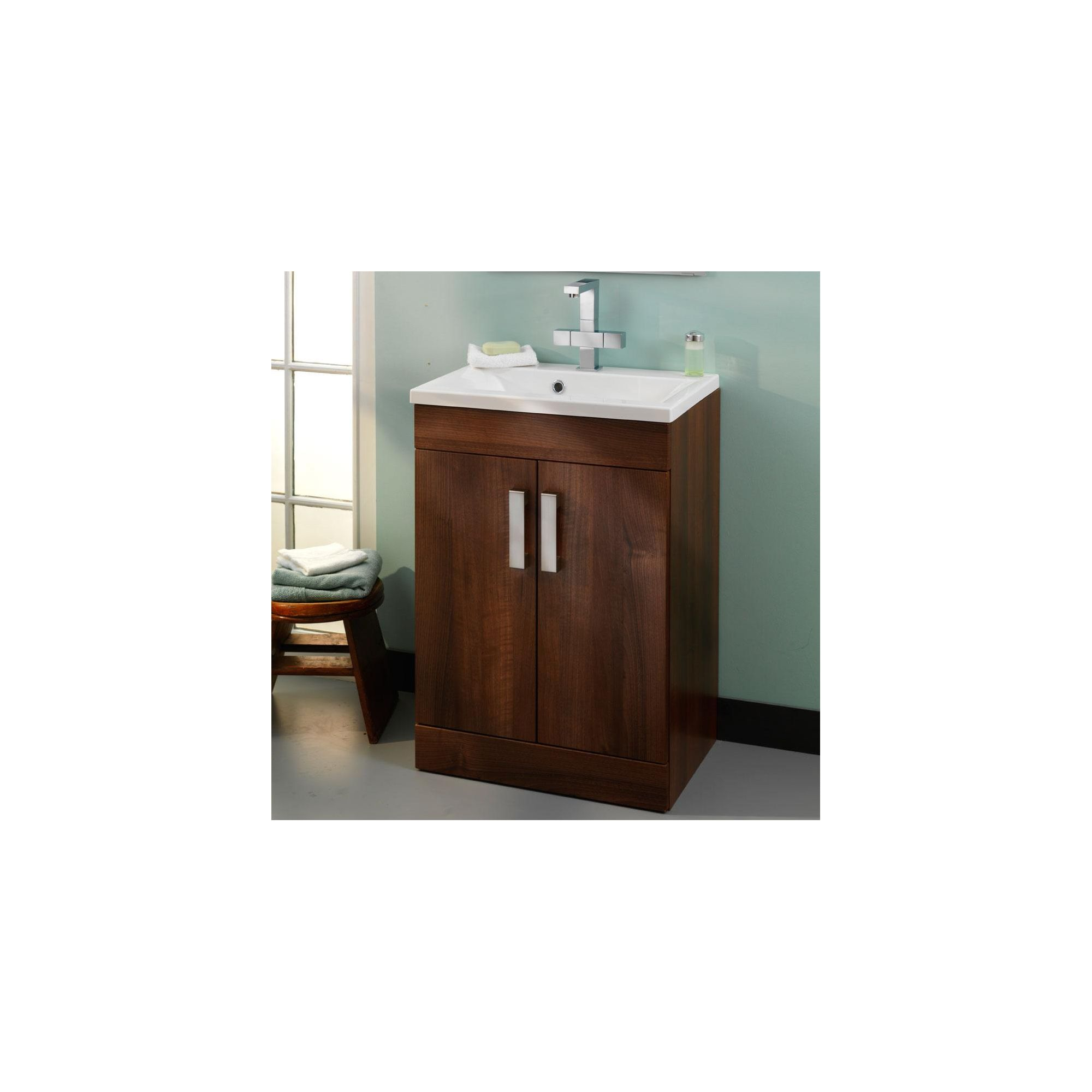 Duchy Tredrea Walnut Floor Standing 2 Door Vanity Unit and Basin - 580mm Wide x 393mm Deep