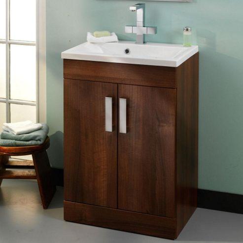 Buy duchy tredrea walnut floor standing 2 door vanity unit for Bathroom cabinets 10cm deep