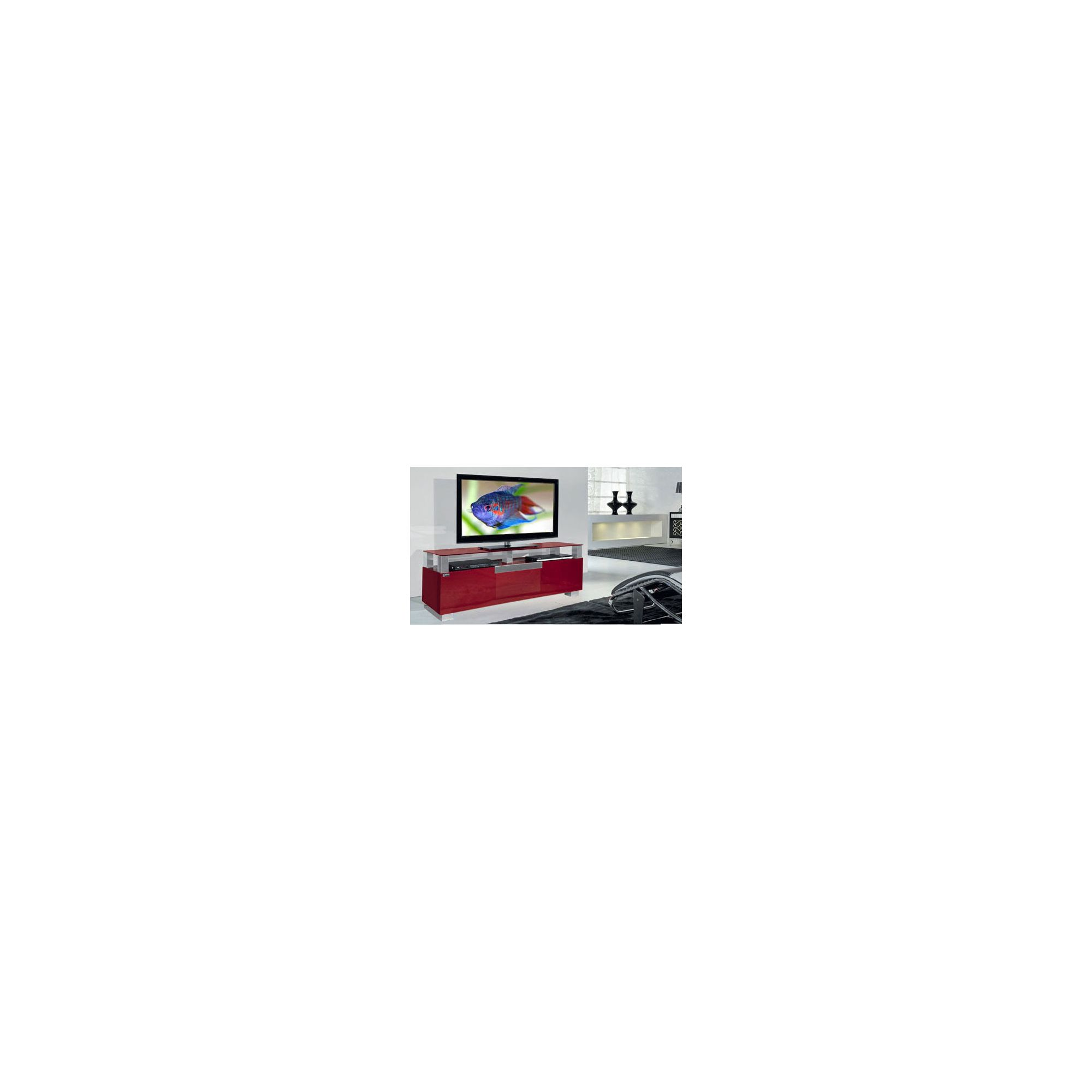 Triskom Wooden TV Stand for LCD / Plasmas with Three Shelves - Red Glass at Tesco Direct