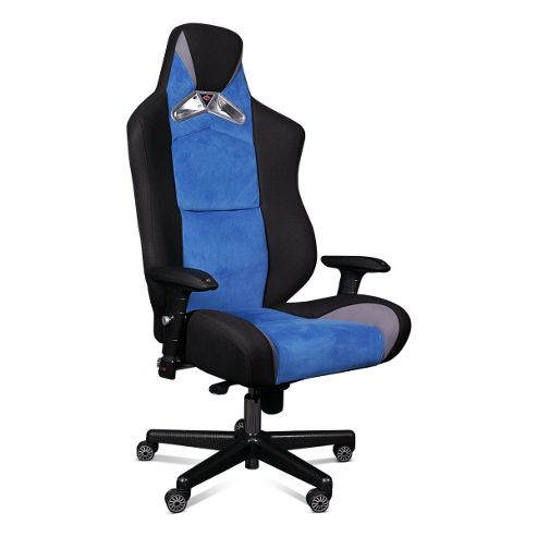 ProMech Racing GT992 Upholstered Office Racing Chair - Cobalt Blue Fabric/Suede