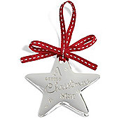 Mamas & Papas - Silver Plated Hanging Star Decoration