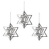 Set of Three Silver Metal Hanging Star Christmas Decorations