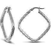 Jewelco London 9ct White Gold Square Hoop Earring