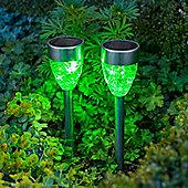 Set of 2 Green LED Prism Solar Garden Stake Lights