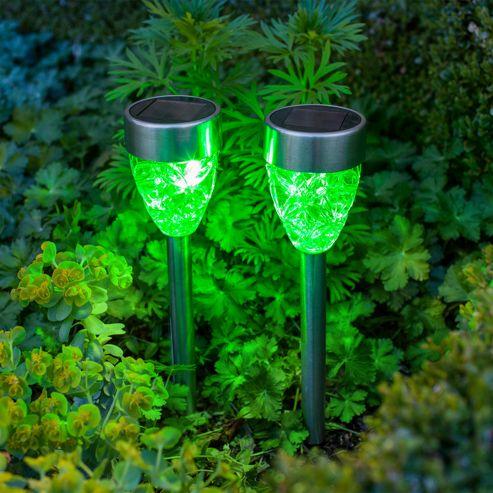 buy set of 2 green led prism solar garden stake lights. Black Bedroom Furniture Sets. Home Design Ideas