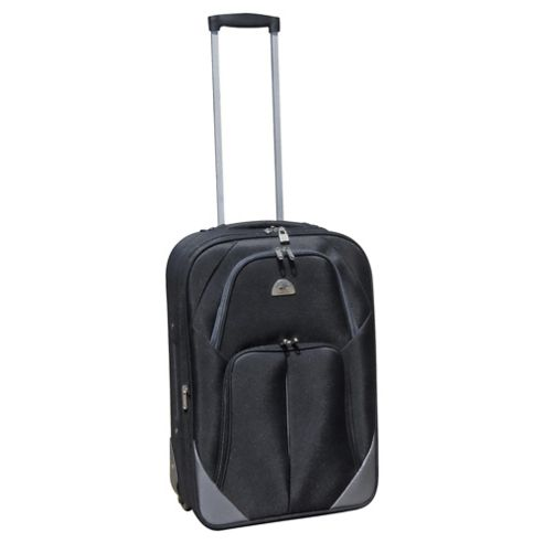 Beverly Hills Polo Club 2-Wheel Suitcase, Black & Silver Medium