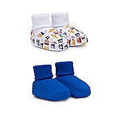 Mothercare Baby Boy's Vehicle and Blue Socktop Booties - 2 Pack