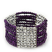 Multistrand Purple Glass/ Silver Acrylic Bead Stretch Bracelet - 18cm Length
