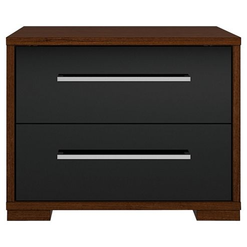 Adria Walnut 2 Drawer Chest With Black Gloss Drawers