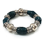 Teal Green Ceramic & Metallic Silver Acrylic Bead Flex Bracelet - 18cm Length