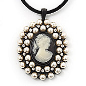 Large Pearl 'Classic Cameo' Pendant On Velour Cord Choker Necklace - 36cm Length & 6cm Extension