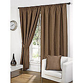 Faux Silk Lined Pencil Pleat Bronze Curtains & Tiebacks - 66 x 54 Inches