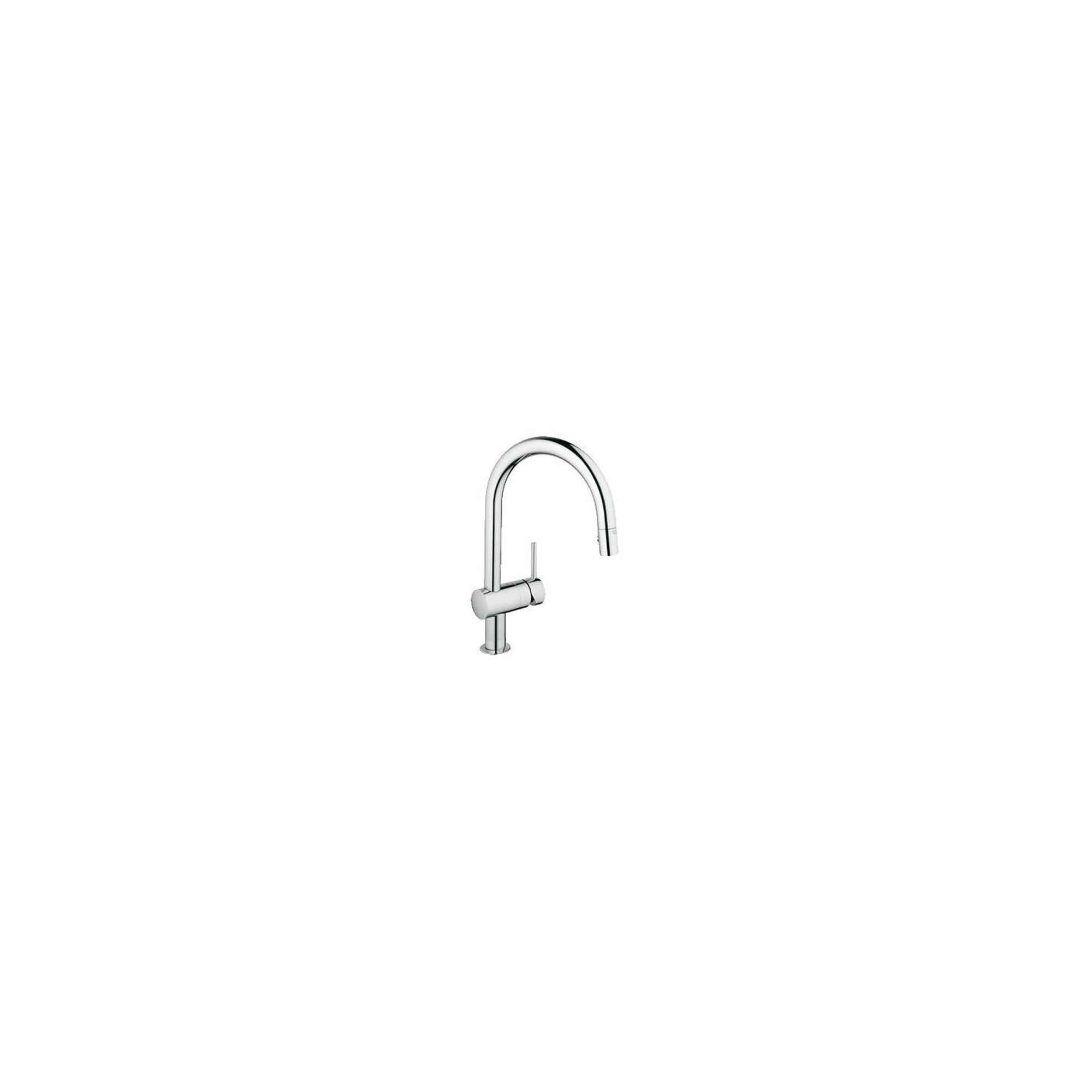 Grohe Minta Mono Sink Mixer Tap, C-Spout, Pull-Out Spray, Single Handle, Chrome at Tesco Direct