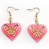 Pink Plastic Heart Drop Earrings