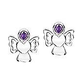 Jo For Girls February Birthstone Guardian Angel Stud Earrings