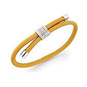 Jewelco London Sterling Silver - Mustard-Yellow Leather Wristpiece - Bangle - Ladies