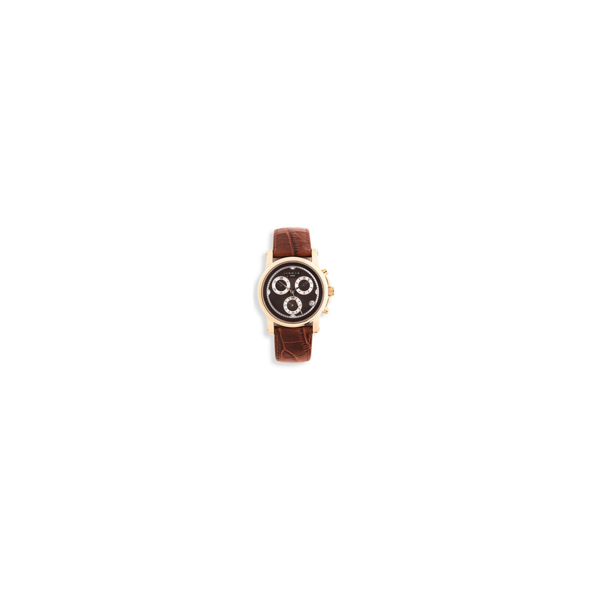 Cross Milan Men's Chronograph Rose-Gold/Brown Leather Strap watch at Tesco Direct