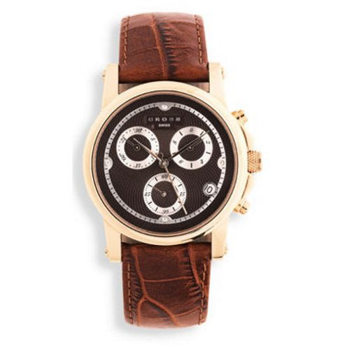 Cross Milan Men's Chronograph Rose-Gold/Brown Leather Strap watch