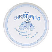 Personalised Bootee Blue Baby Boy Christening Plate