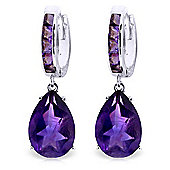 QP Jewellers 13.20ct Amethyst Ovate Drop Huggie Earrings in 14K White Gold