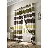 Grosvenor Jacquard Organza Eyelet Lined Curtains - Chocolate