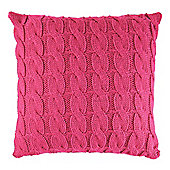 F&F Home Pink Cable Knit Cushion