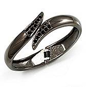 Gun Metal 'Modern Leaves' Hinged Bangle Bracelet