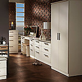 Welcome Furniture Contrast Plain Midi Wardrobe - Vanilla