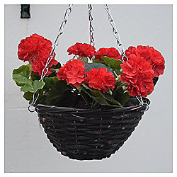 Artificial Red Geranium Hanging Basket