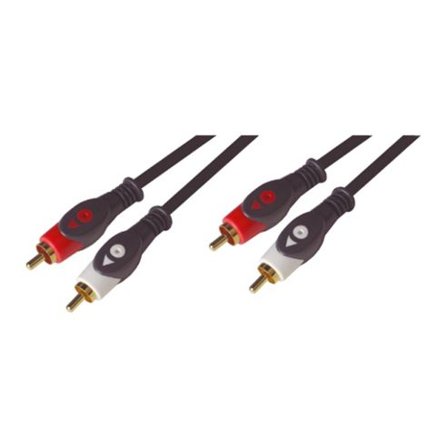 Stereo Hifi 2 To Phono Gold Leads Jack Plug Cable 1.5M