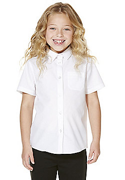 F&F School 2 Pack of Girls Easy Iron Plus Fit Short Sleeve School Shirts - White