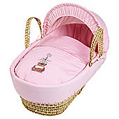 Clair de Lune Tippy Tumble Palm Moses Basket - Pink