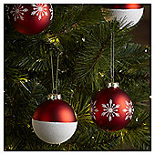 Red and White Snowflake Pattern Christmas Baubles, 4 pack