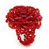 Bright Red Glass Bead Flower Stretch Ring