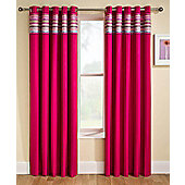 Siesta Blackout Ready Made Pencil Pleat Curtains-Fully Lined-Blue,Natural & Pink - Pink