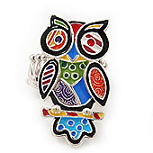 Multicoloured Enamel 'Owl' Stretch Ring In Rhodium Plating - Adjustable (Size 7/9) - 4.5cm Length