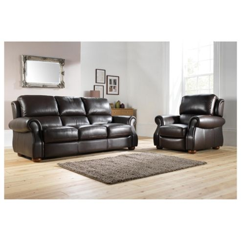 Paloma Leather Large Sofa Chocolate