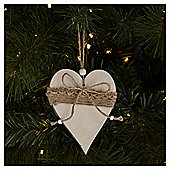 Weiste Wooden and Hessian Heart Christmas Tree Decoration