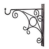Black Metal Garden Wall Hook Hanging Basket Bracket - Design C