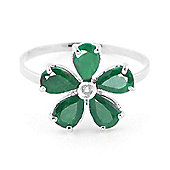 QP Jewellers Diamond & Emerald Foliole Ring in 14K White Gold