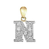 9ct Yellow Gold Cubic Zirconia Initial Charm Identity Pendant - Letter N