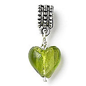 Lime Hanging Heart Slide On Bead