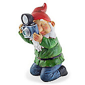 Denton the Large Photographer Garden Gnome Ornament with Solar Powered Light