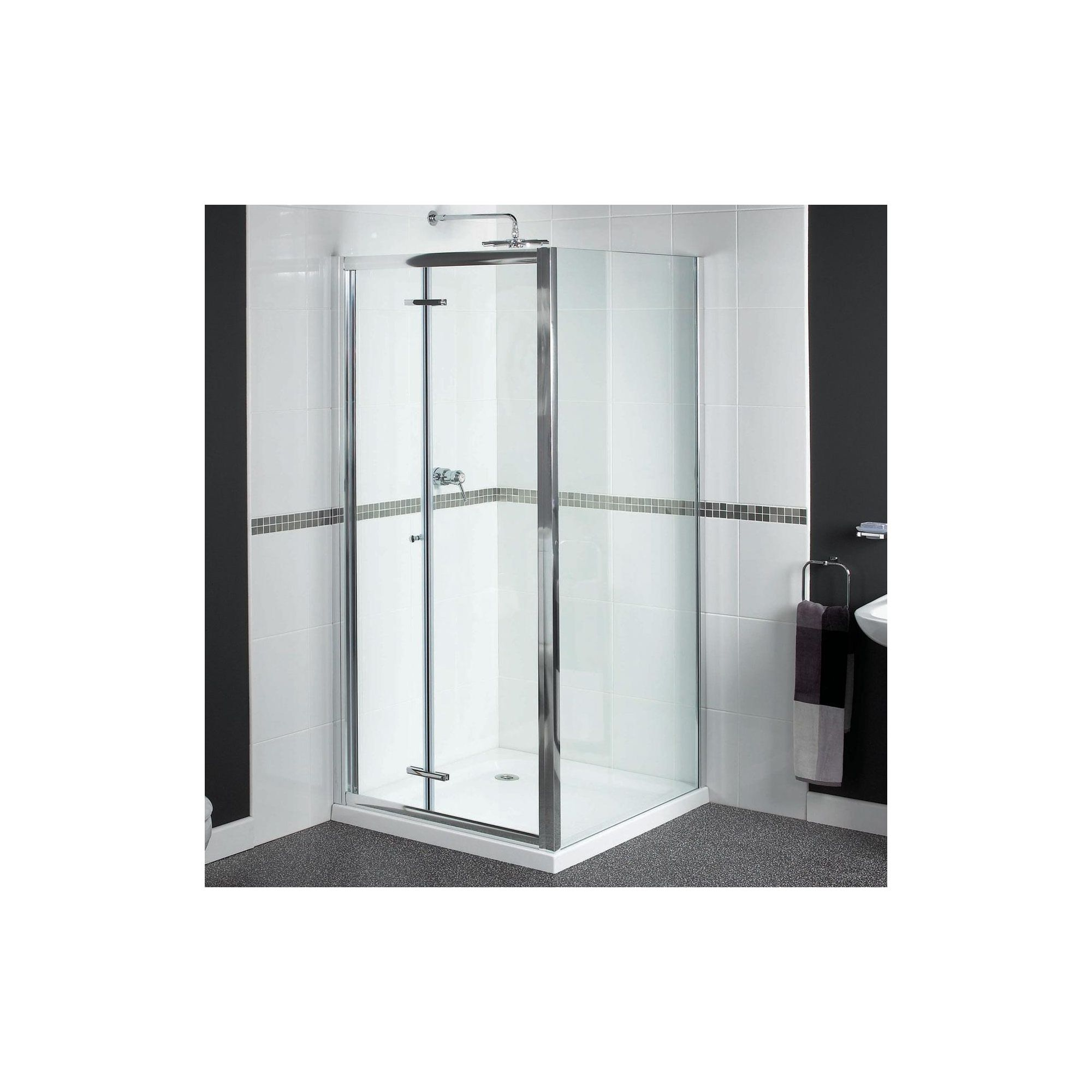 Aqualux Shine Bi-Fold Shower Door, 900mm Wide, Polished Silver Frame, 6mm Glass at Tesco Direct
