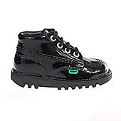 Kickers Kick Hi Patent Infant Toddler Kids School Shoe Boot - Black
