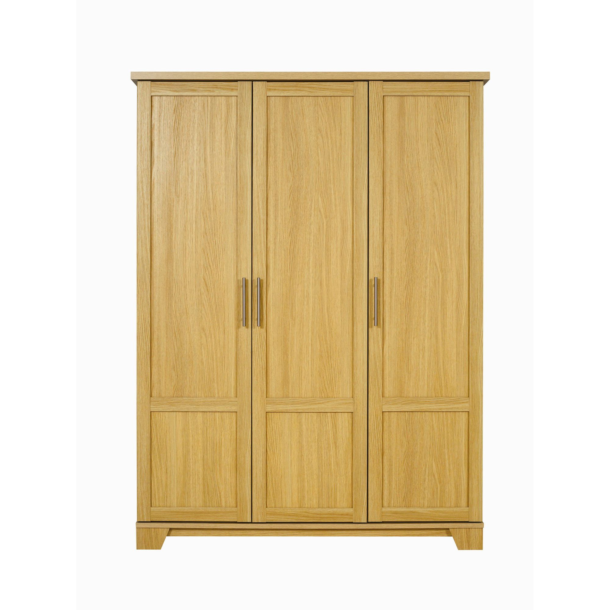 Caxton Melody 3 Door Short Height Plain Wardrobe in Natural Oak at Tesco Direct